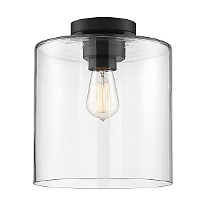 Chantecleer 1 Light Incandescent Matte Black Clear Semi Flush Light Fixture